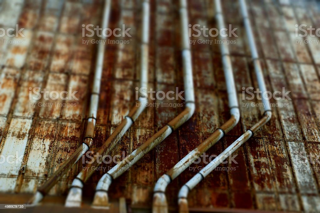Industrial scenery - pipework in Montreal, Canada stock photo
