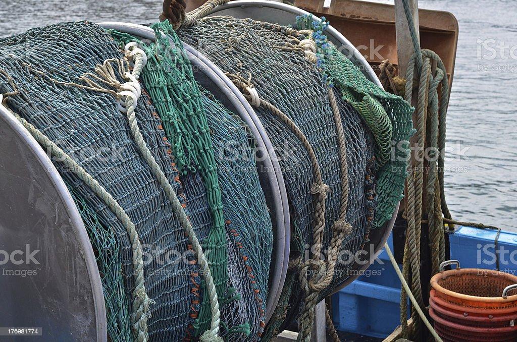 Industrial sea fishing nets stock photo