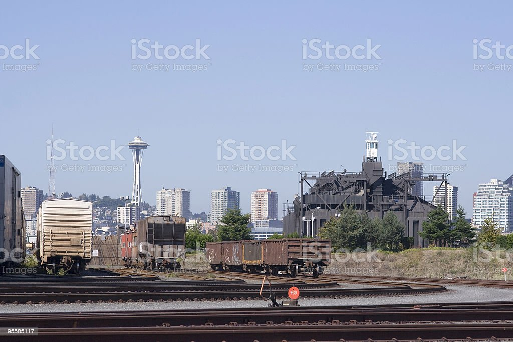 Industrial Seattle View, Space Needle royalty-free stock photo