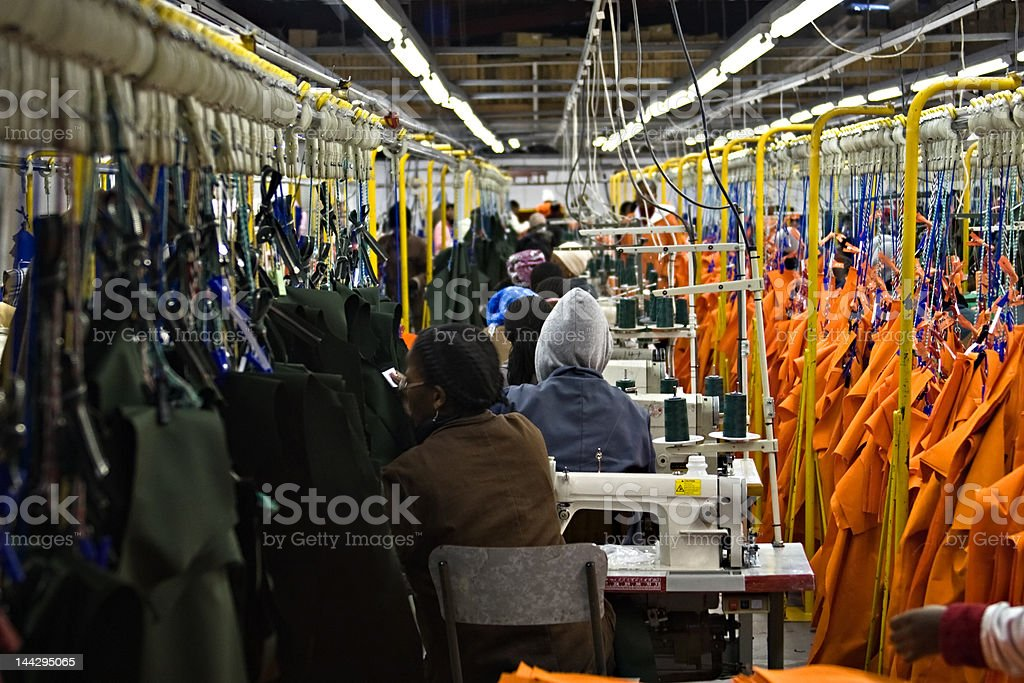 Industrial sewing machine stock photo