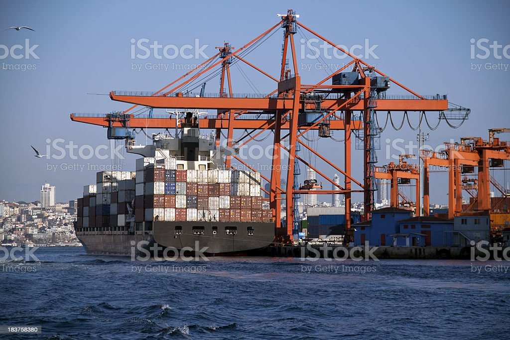 Industrial ship in the harbor stock photo