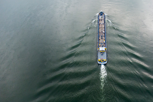 Industrial ship on river - aerial view