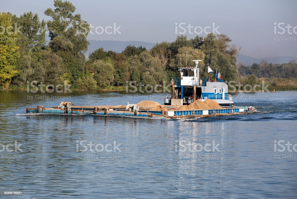Industrial ship on River Saone stock photo
