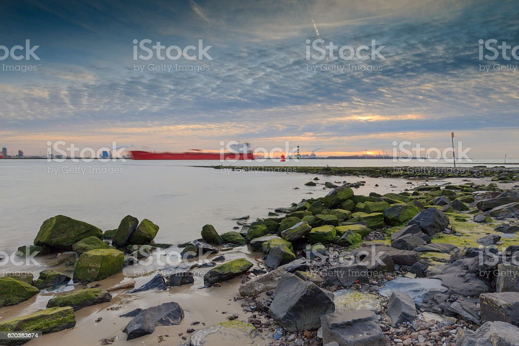 industrial ship sailing over the Nieuwe Waterweg river stock photo