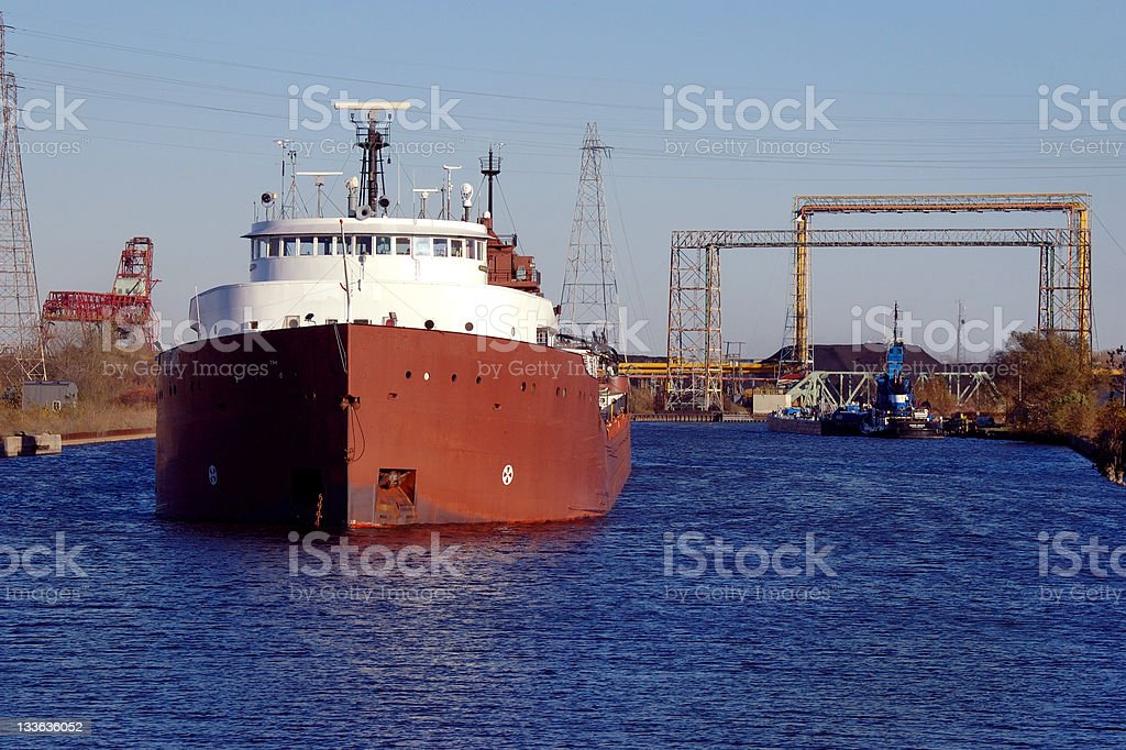 Industrial Shipping Canal Detroit stock photo