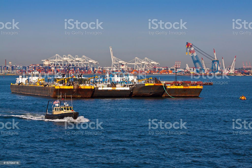 Industrial Ships in front of Port-Bayonne. stock photo