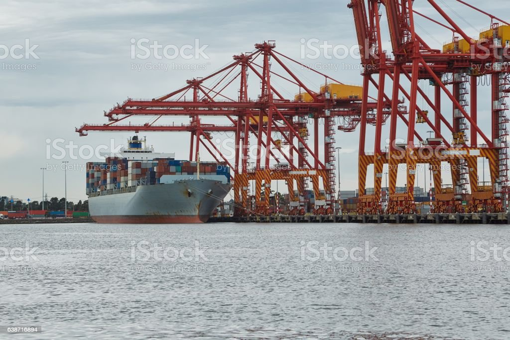 Industrial ships in port stock photo