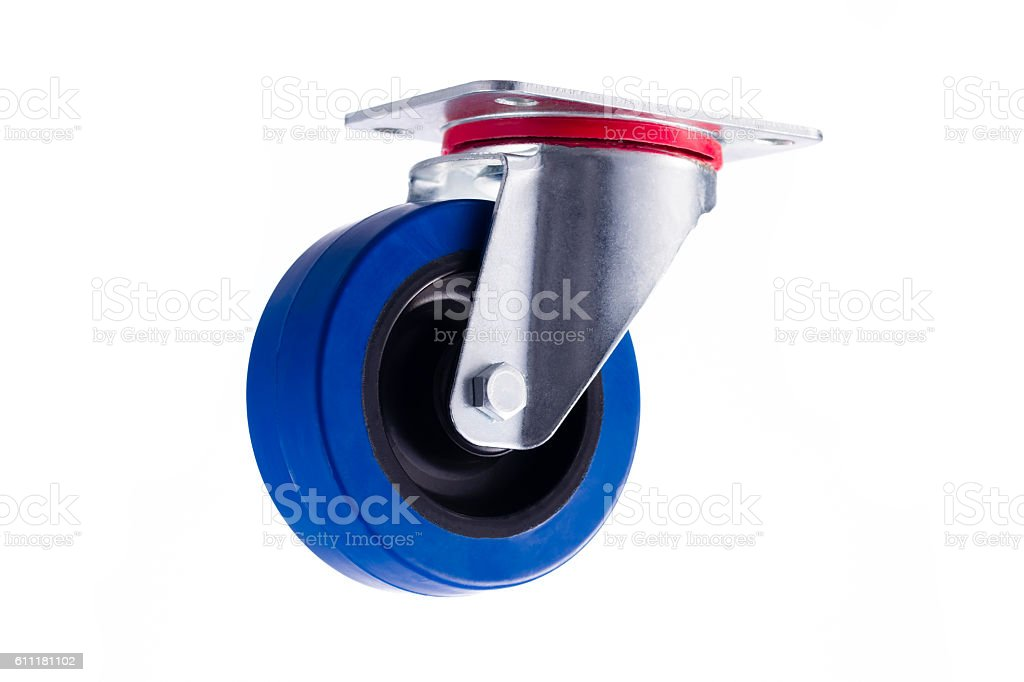 Industrial single steel caster without lock isolated on white ba stock photo