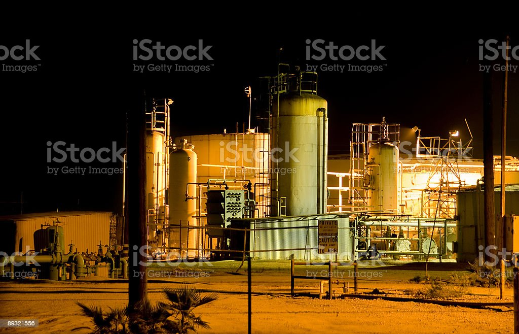 Industrial Site at Night royalty-free stock photo