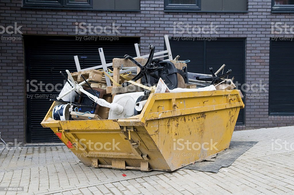 Industrial Skip, Overflowing stock photo