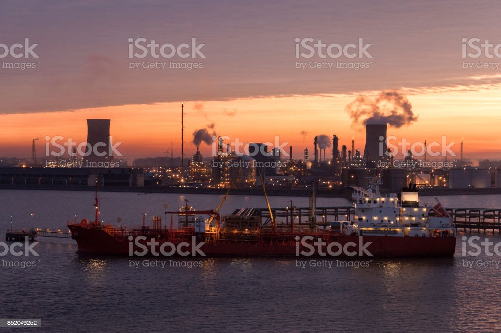 Industrial Skyline at Dawn stock photo