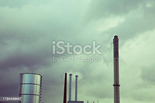 istock Industrial Smoke Stacks 1134449447