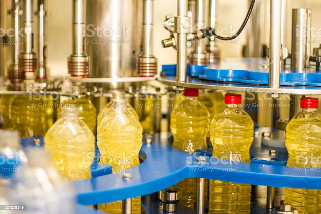 Industrial soybean oil machine stock photo