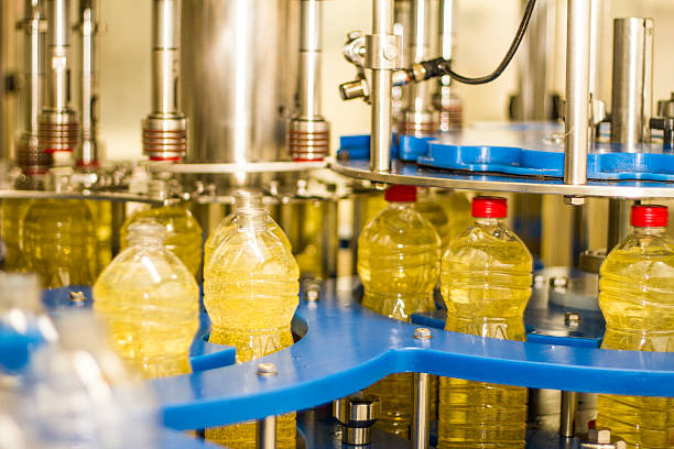Industrial soybean oil machine stock photo