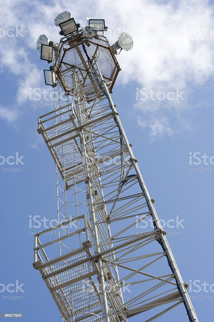 Industrial spotlight and metal ladder royalty-free stock photo