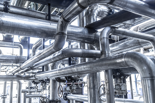 industrial steam pipe with valves and stainless steel actuators
