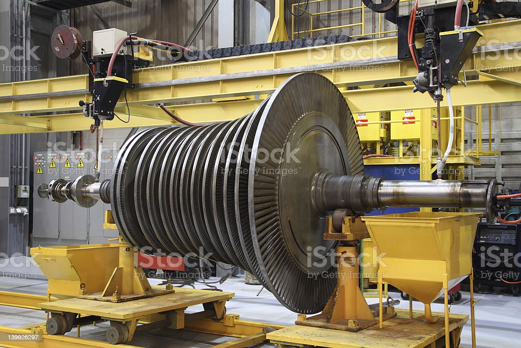 Industrial steam turbine at the workshop stock photo