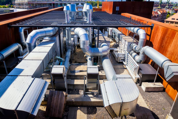 Industrial steel air conditioning and ventilation systems Industrial steel air conditioning and ventilation systems air duct stock pictures, royalty-free photos & images