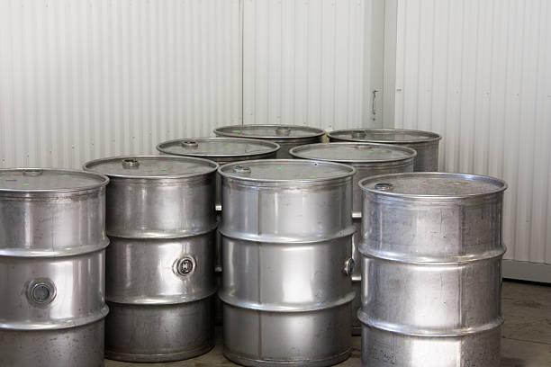 Industrial Steel Drums stock photo