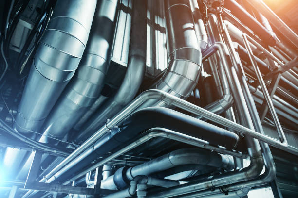 industrial steel pipes or tubes of air ventilation system as abstract industry equipment background - conduttura dell'aria foto e immagini stock