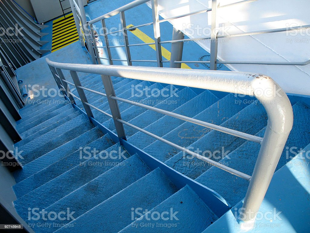 Industrial steel stairs on the ferry royalty-free stock photo