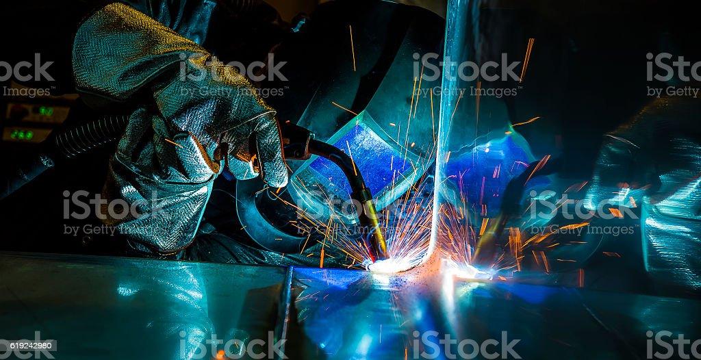 welder, craftsman, erecting technical steel Industrial steel welder...