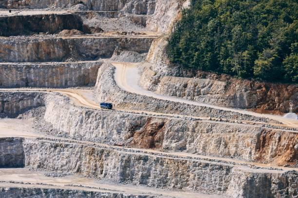Industrial stone mining stock photo