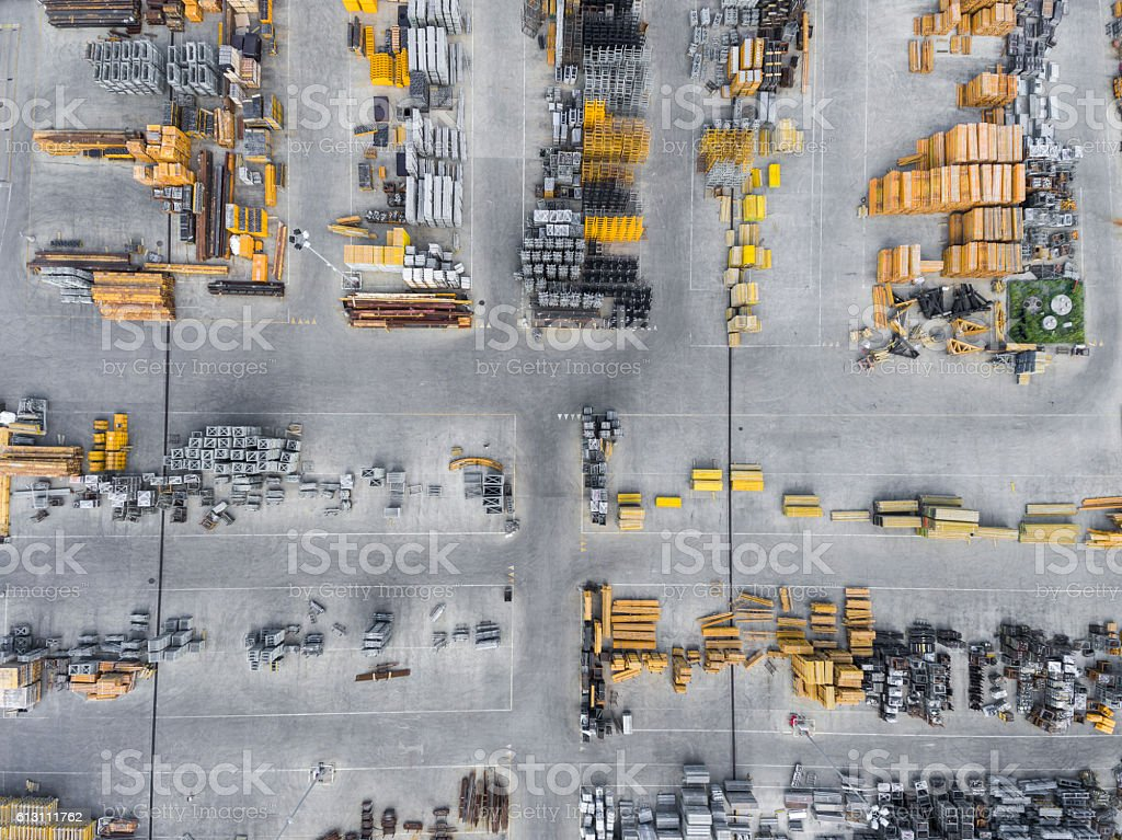 Industrial storage place, view from above. stock photo