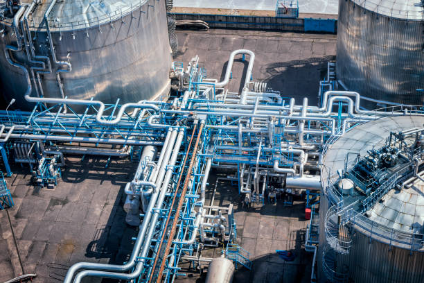Industrial storage tanks in the Refinery stock photo