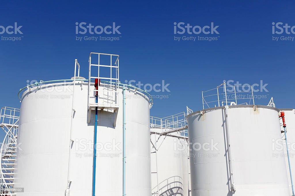 Industrial storage tanks stock photo