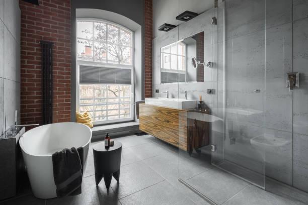 Industrial style bathroom stock photo
