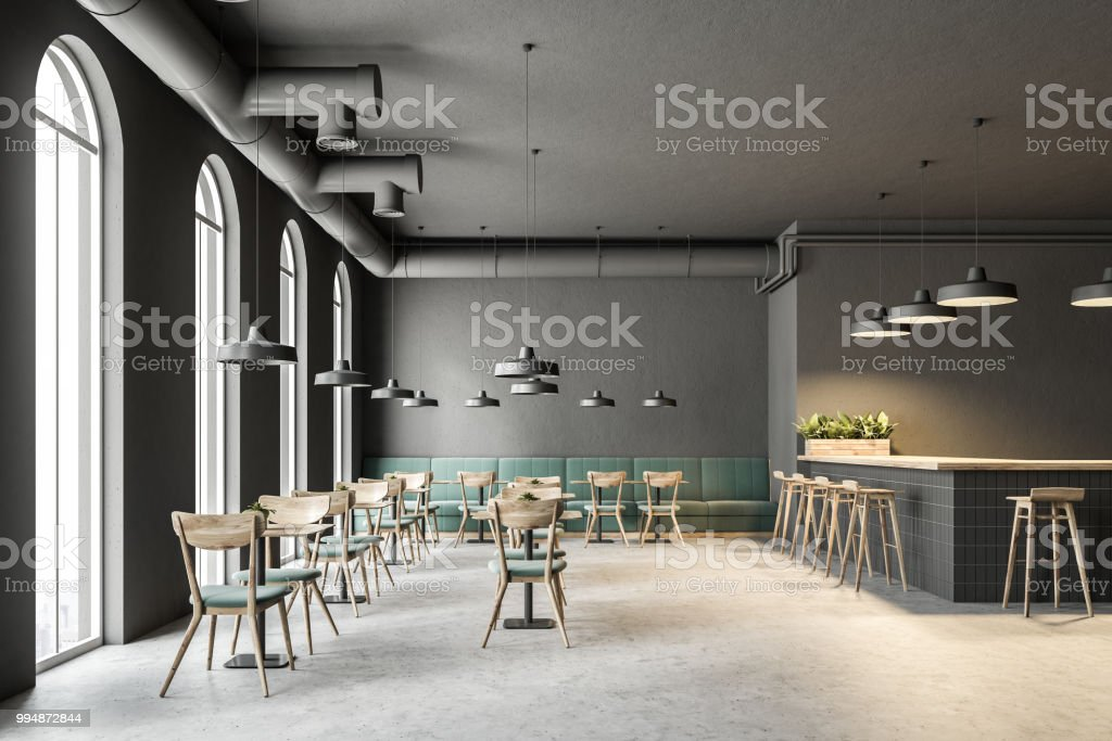 Industrial Style Cafe Interior, Green Sofas Royalty Free Stock Photo