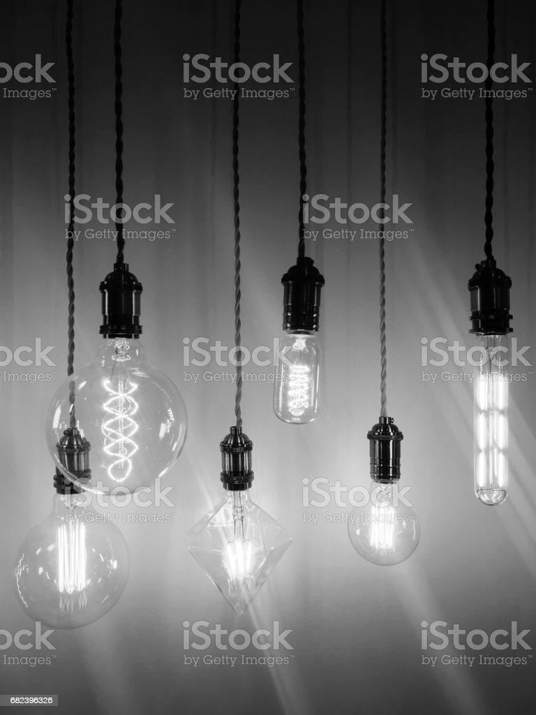 Industrial style light bulbs of different shapes royalty-free stock photo