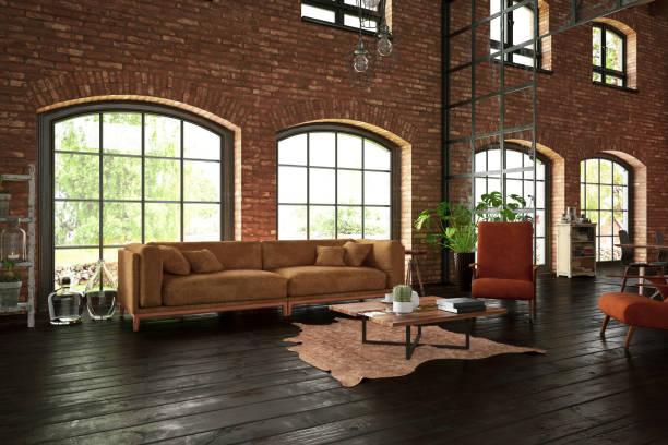 industriële stijl woonkamer met bakstenen muren - loft stockfoto's en -beelden