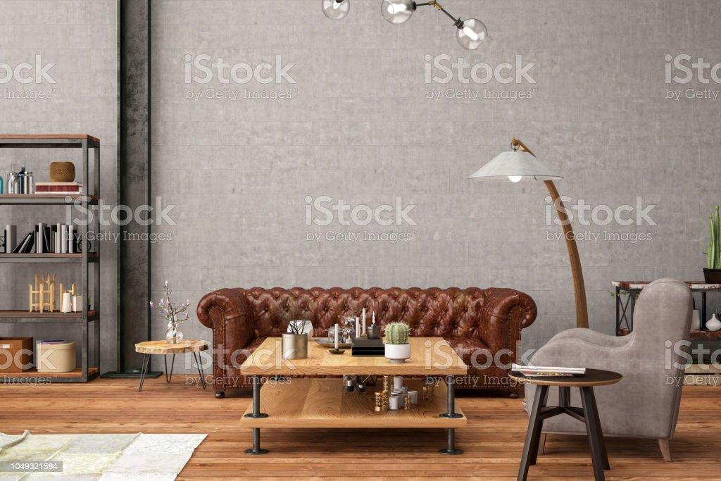 Industriele Loft Woonkamer : Industriële stijl loft appartement woonkamer stockfoto en meer