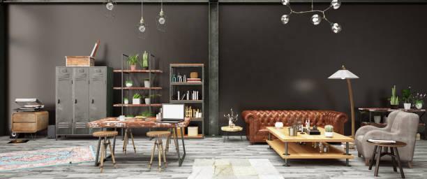 産業スタイルのロフト アパート - ヴィンテージインテリア ストックフォトと画像