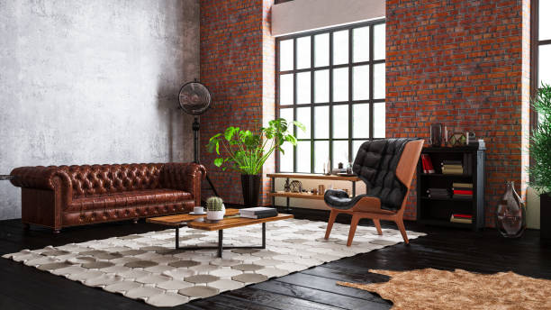 industrieel stijl loft appartement - loft stockfoto's en -beelden
