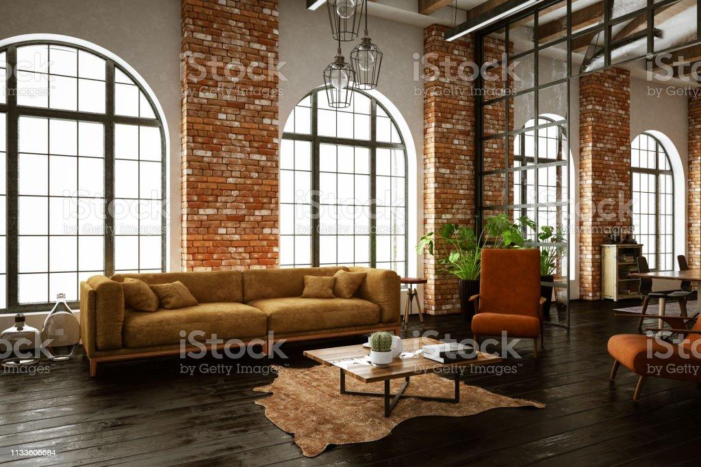 Photo libre de droit de Chambre Loft Style Industriel banque ...