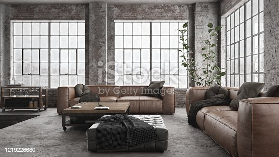 Modern brown leather sofas with coffee table in old industry styled interior with brick walls - 3 d render using 3ds Max