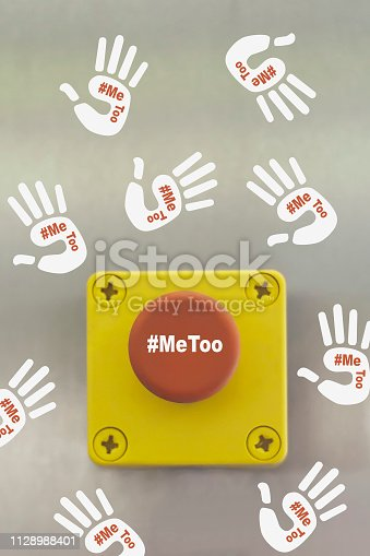 Sexual harassment concept. Symbol of movement me too. Conceptual image. Industrial switching button with text: Me Too