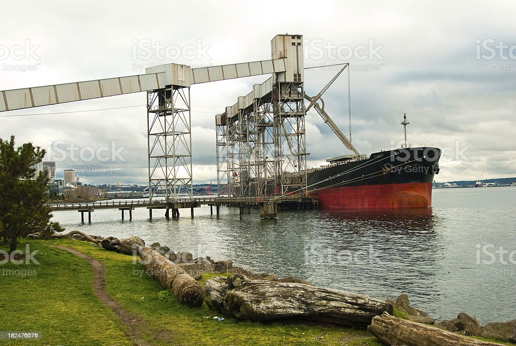 Industrial tanker at a dock in Seattle, WA royalty-free stock photo