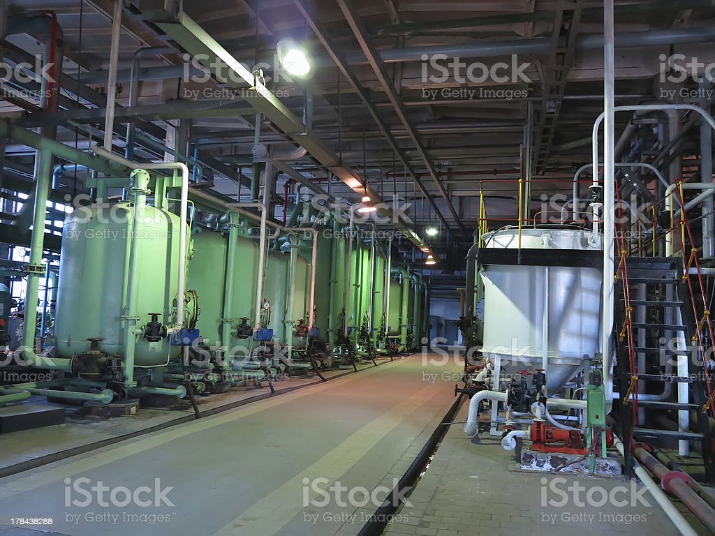 Industrial tanks, machinery, pipes, tubes inside chemical plant royalty-free stock photo