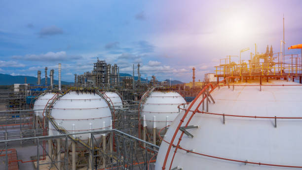 Industrial tanks or spherical tanks for petrochemical plant, oil and gas fuel  in refinery, Natural gas tank in the petrochemical industry stock photo