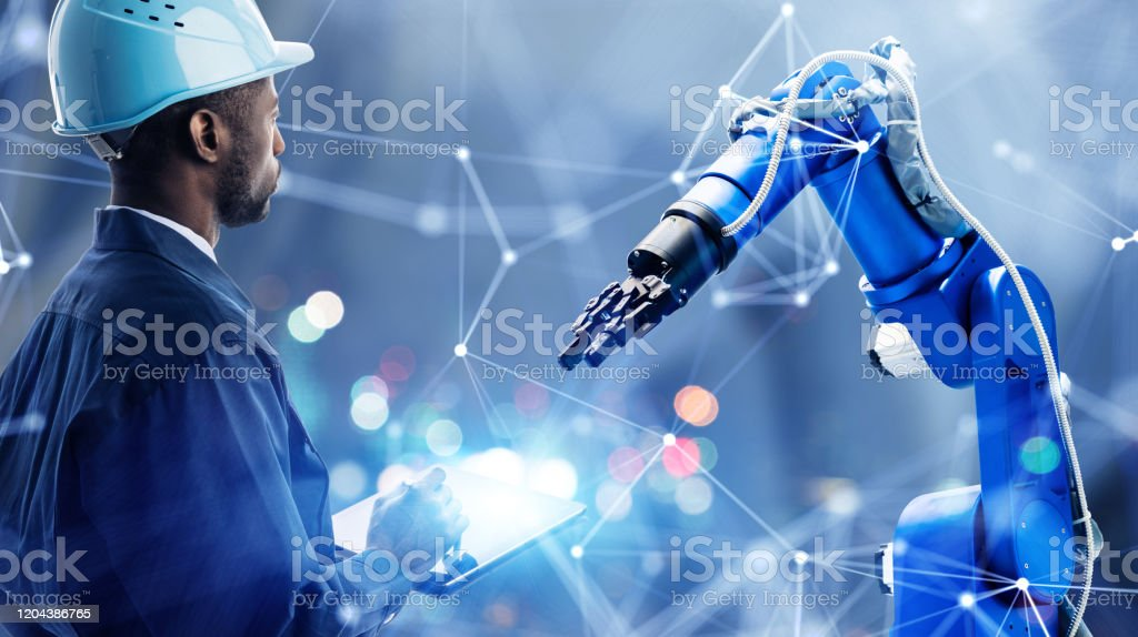 Industrial technology concept. Communication network. INDUSTRY 4.0. Factory automation. - Royalty-free 5G Stock Photo