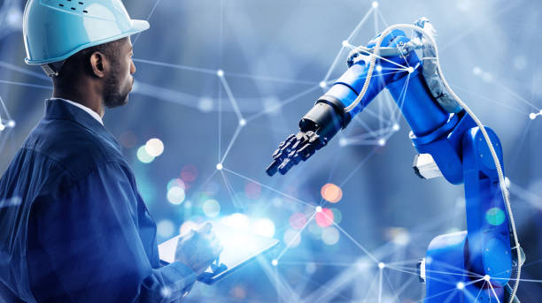 Industrial technology concept. Communication network. INDUSTRY 4.0. Factory automation. stock photo