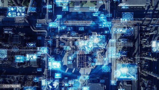 1136415363 istock photo Industrial technology concept. Communication network. INDUSTRY 4.0. Factory automation. 1223790280