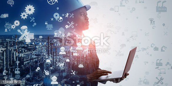 1178819379 istock photo Industrial technology concept. Communication network. INDUSTRY 4.0. Factory automation. 1244477917