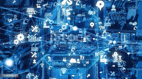 1190871157 istock photo Industrial technology concept. Communication network. INDUSTRY 4.0. Factory automation. 1249306201