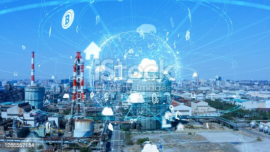 1190871157 istock photo Industrial technology concept. Communication network. INDUSTRY 4.0. Factory automation. 1255557184
