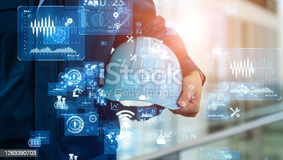 istock Industrial technology concept. Communication network. INDUSTRY 4.0. Factory automation. 1263390703